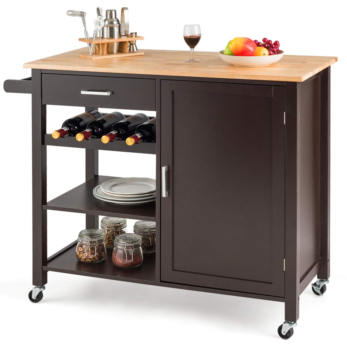 Giantex Kitchen Island Cart Rolling Serving Cart Wood Trolley with Drawer, Storage Cabinet, Wine Bottle Rack, Towel Rack and Lockable Wheels Brown