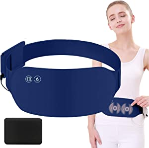 MOREHM Portable Heating Pad for Cramps, Far Infrared Electric USB Massage Warming Belt for Lower Back, Stomach, Waist, Abdomen, Neck, Shoulders, Menstrual Period Pain Relief (Navy Blue-with Battery)