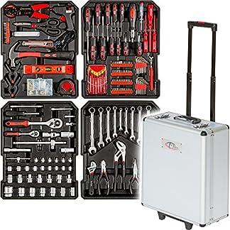 TecTake Maletín con herramientas 416pc piezas maleta trolley caja martillo alicates