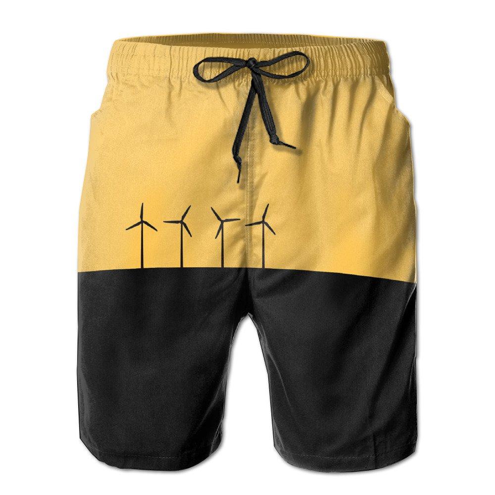 Mens Cargo Shorts Windmills Black Background Covenient Shorts