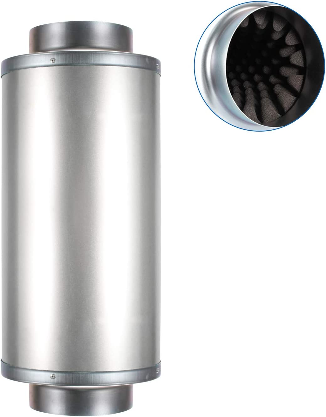 Hon&Guan 6 Inch Duct Silencer, Noise Reducer Hose Silencer for Inline Duct Fan in HVAC System