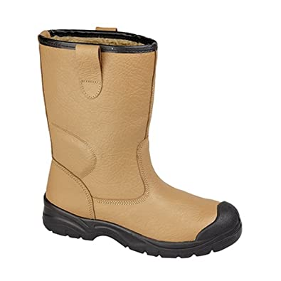 Mens Ladies RIGGER FUR LINED STEEL TOE CAP MIDSOLE SAFETY WORK BOOTS TAN