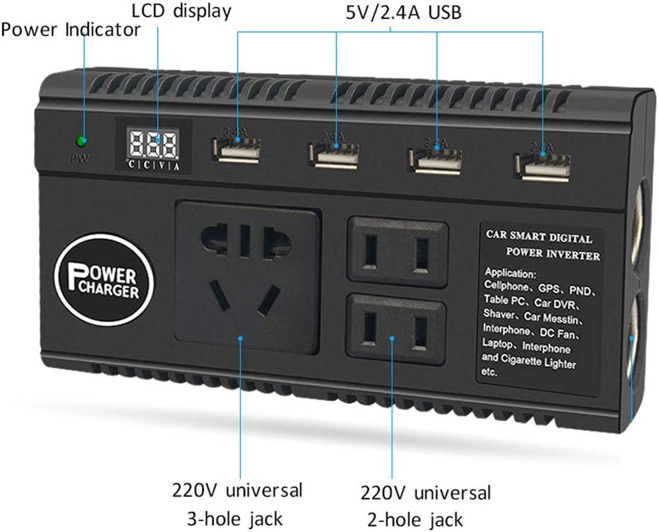 QWERDF 120W Car Power Inverter con Interruttore E Schermo LCD di Corrente DC 12 24V A 220V AC Adapter Plug Converter 4 Porte USB Charger Adapter