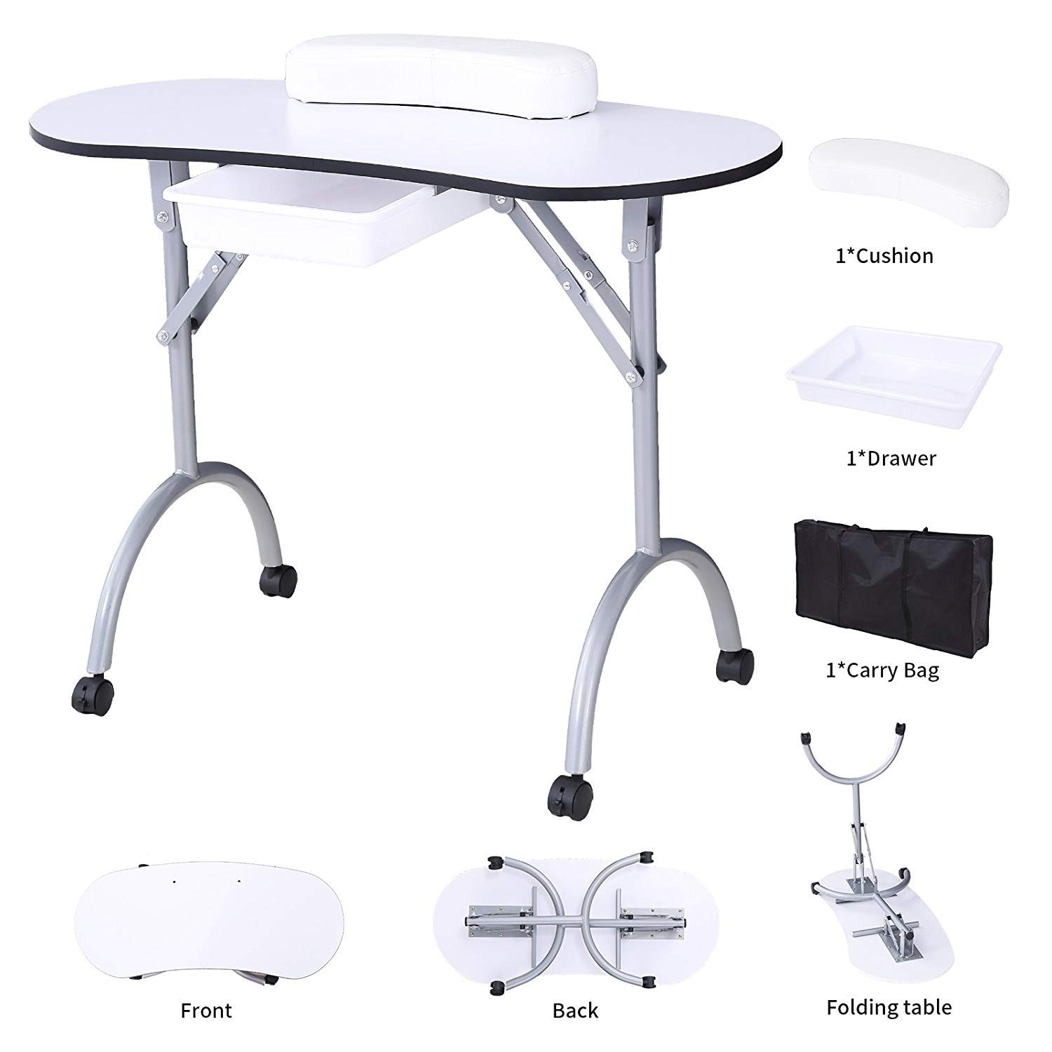 Amazon.com : SUNCOO Manicure Nail Table Station Portable Foldable ...