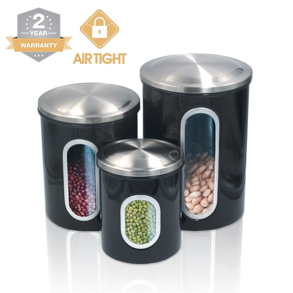 Kitchen Food Storage Canister Set - For Ideahome Stainless Steel Organization Canisters Set of 3 Containers, with Airtight Lid, Great for Home Kitchen Counter Storage and Decor Fortune Candy