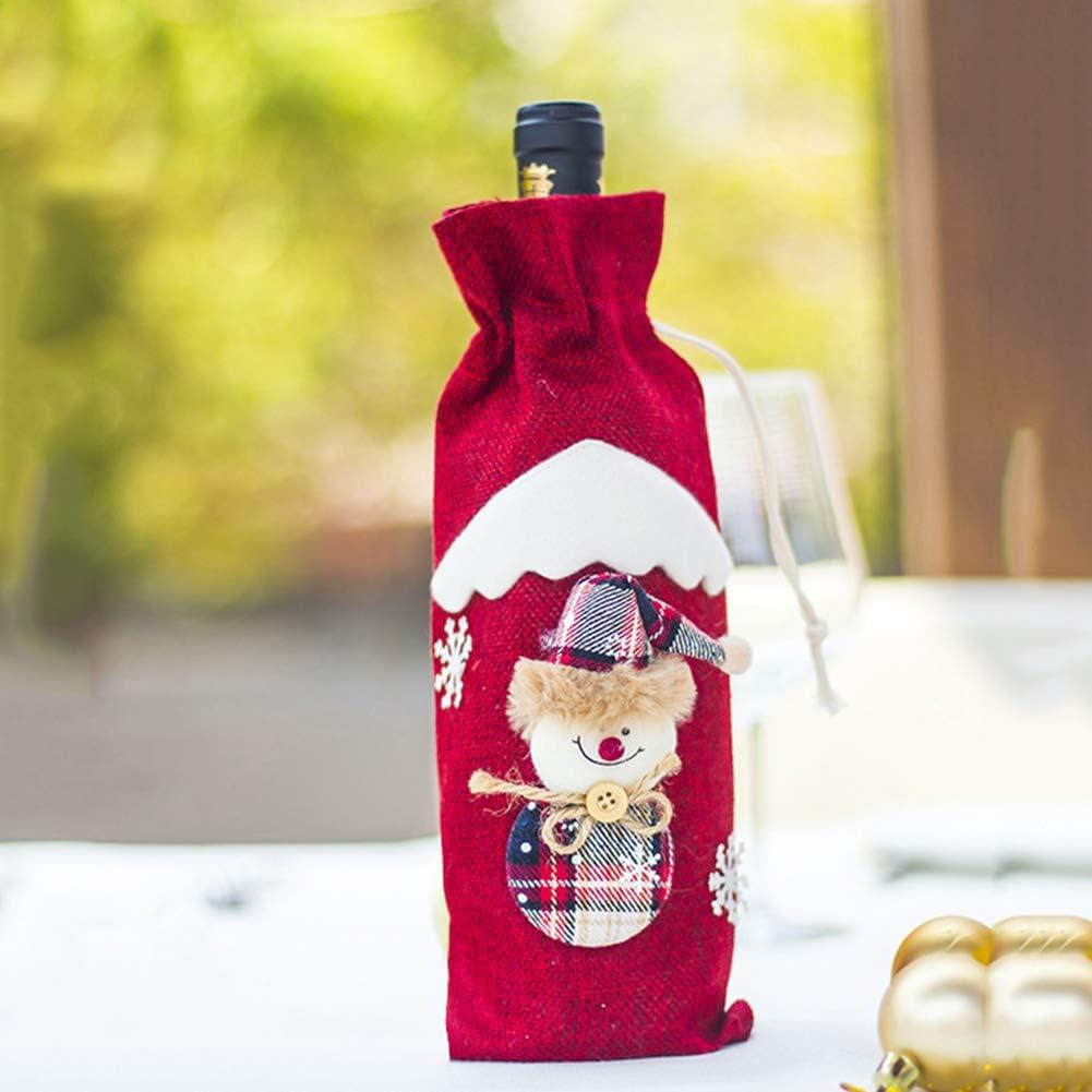 1 bolsa de vino de Navidad para decorar botellas de vino, decoración de Navidad, decoración de la mesa, decoración de Navidad, decoración del hogar, fiesta, festival, regalo: Amazon.es: Hogar