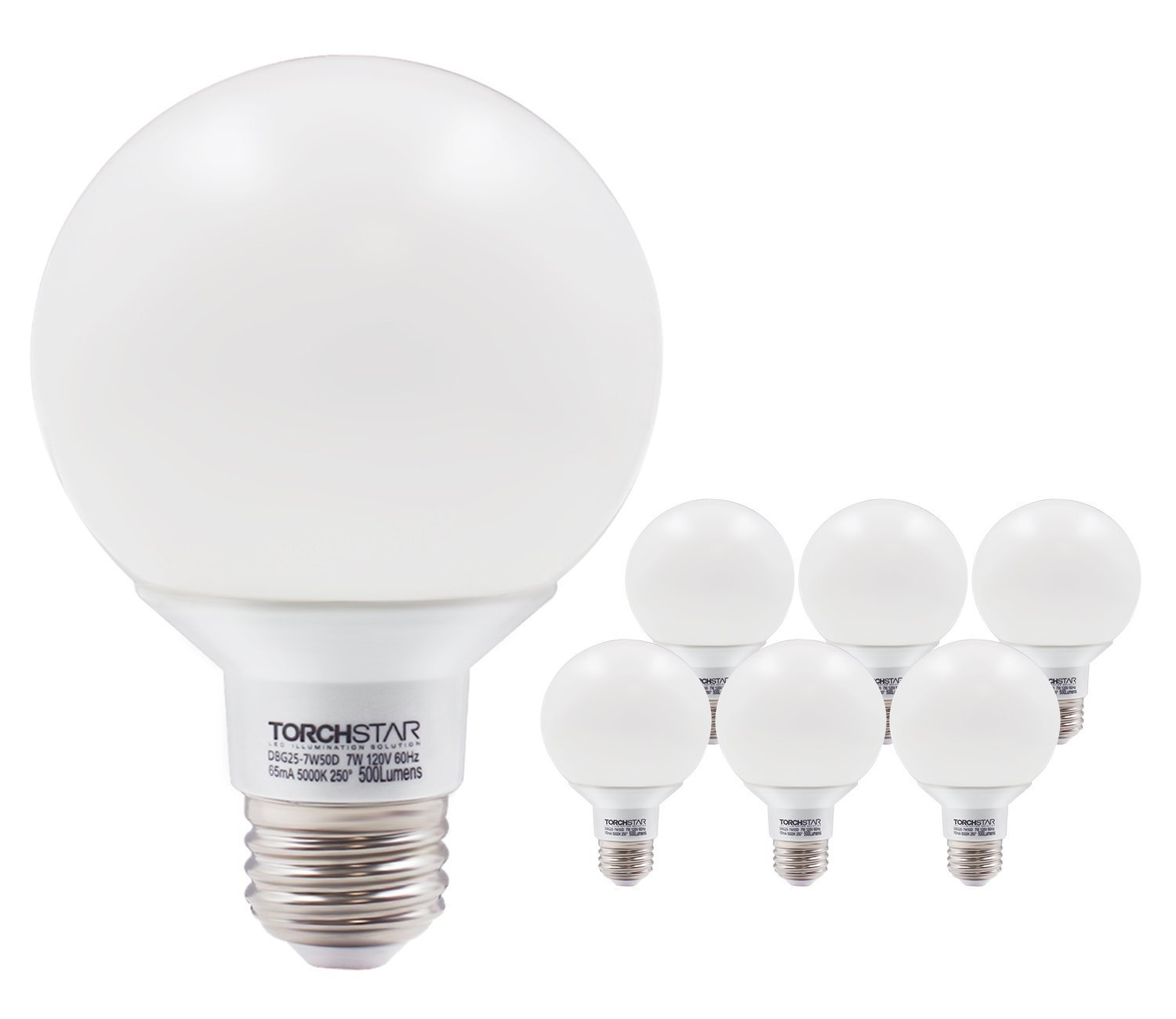 G25 Globe Led Bulb Dimmable 7W 60W Equiv, Vanity Style Daylight 5000K For  Makeup, Pendant, Bathroom, Dressing Room Decorative Light, 3 YEAR WARRANTY,  ...