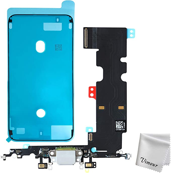 Vimour USB Charging Port Dock Connector Flex Cable with Microphone Replacement for iPhone 8 Plus 5.5 Inches (White)