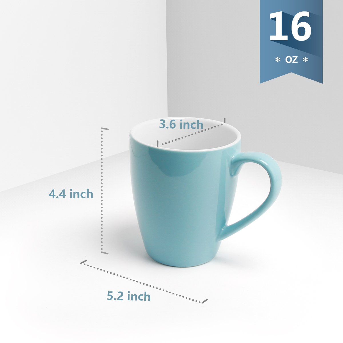 Sweese 6203 Porcelain Mugs - 16 Ounce for Coffee, Tea, Cocoa, Set of 6, Cold Assorted Colors by Sweese (Image #2)