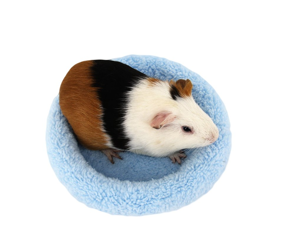 Hamster Bed Round Warm Sleep Mat Pad for Hamster Hedgehog Squirrel Guinea Pig Small Animals (L, Blue)