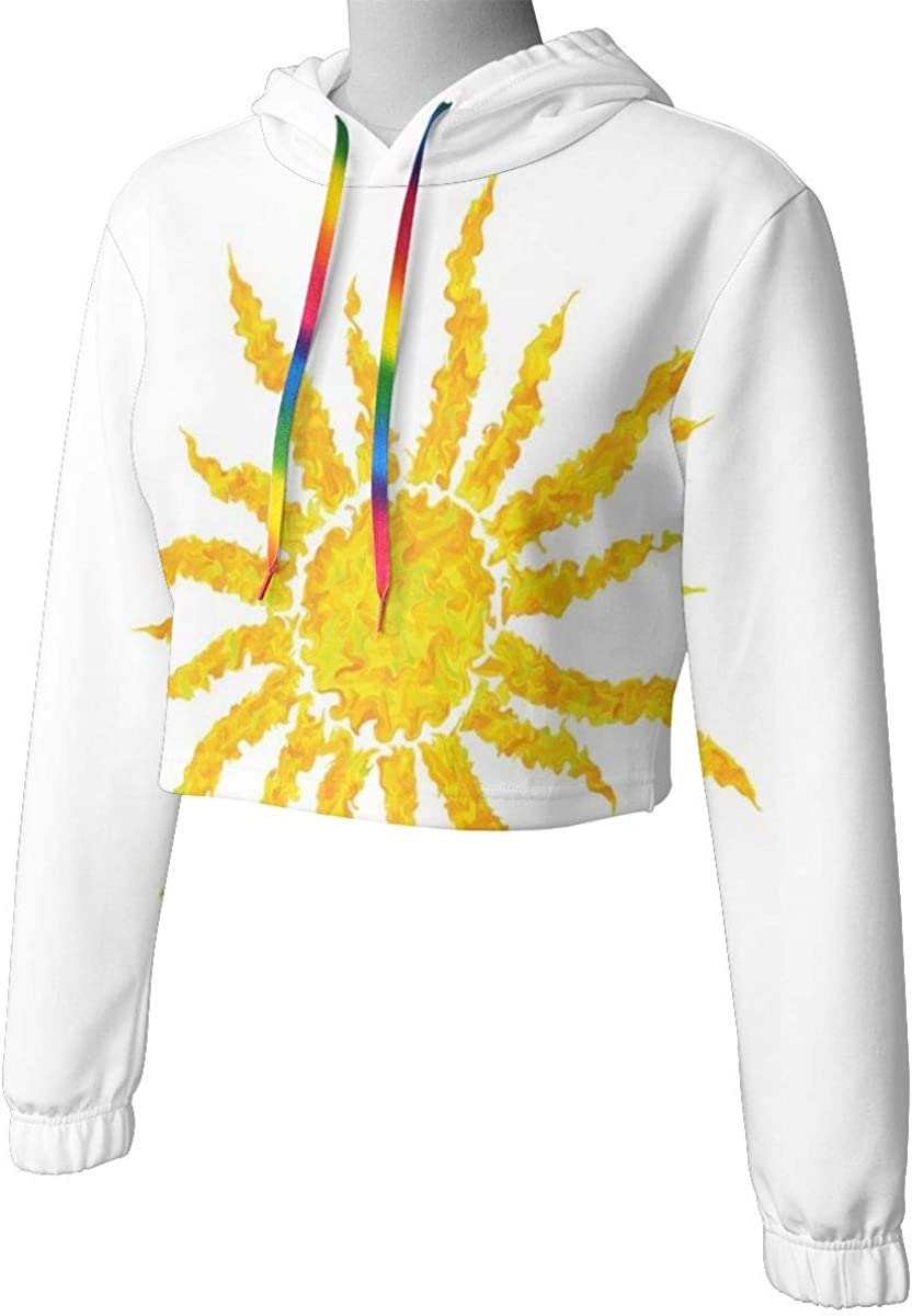 GULTMEE Womens Cropped Hoodie,Artsy Grunge Star Drawing Circle and Stripes Abstract Center of Solar System,S-XL