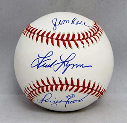 Jim Rice Dwight Evans Fred Lynn Autographed Rawlings OML