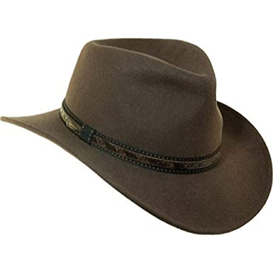 c9126bff Scala Classico Men's Wool Felt Outback with Overly Hat, Khaki, S at Amazon  Men's Clothing store: