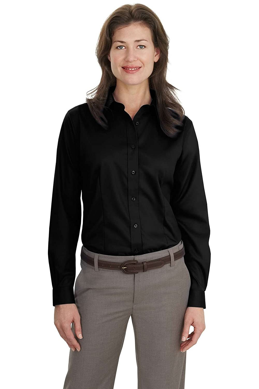 Black Port Authority Ladies Long Sleeve NonIron Twill Shirt