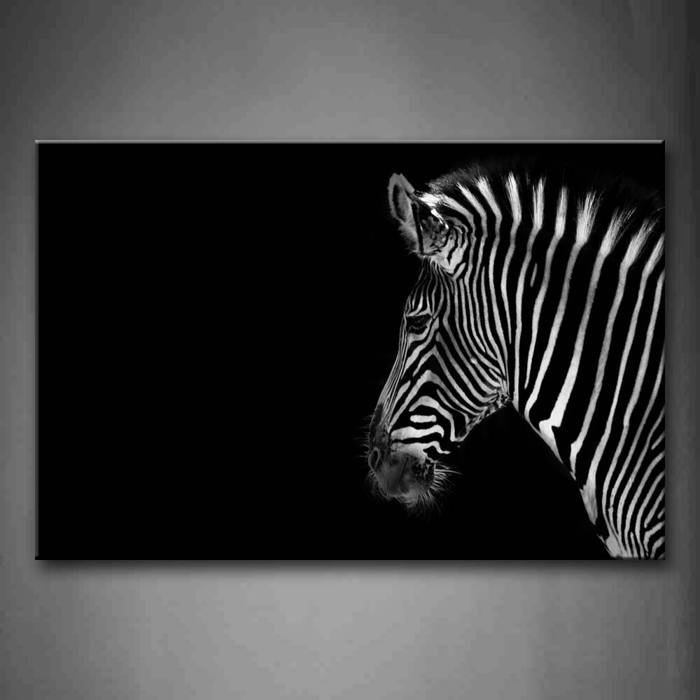 amazon com black and white portrait of zebra head black white portrait of zebra head black background wall art painting pictures print on canvas animal the picture for home modern decoration posters prints