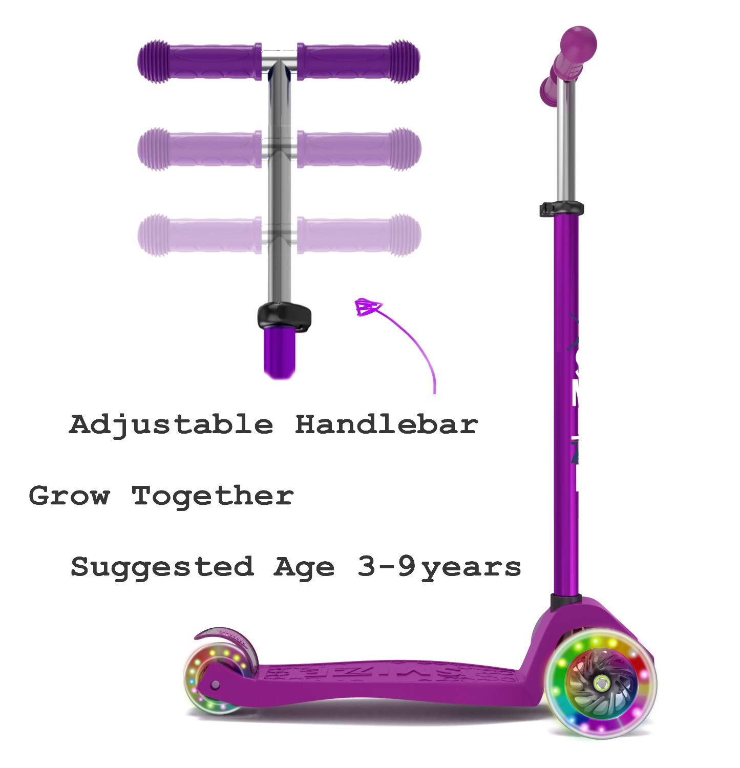 SmizZe Kids Scooter Deluxe - Scooter for Kids Age 3-9 - Adjustable Kick Scooter - 3 Wheel Balance Mini Scooters - ABEC-7 - Kickboard Scooter with Flashing Wheels
