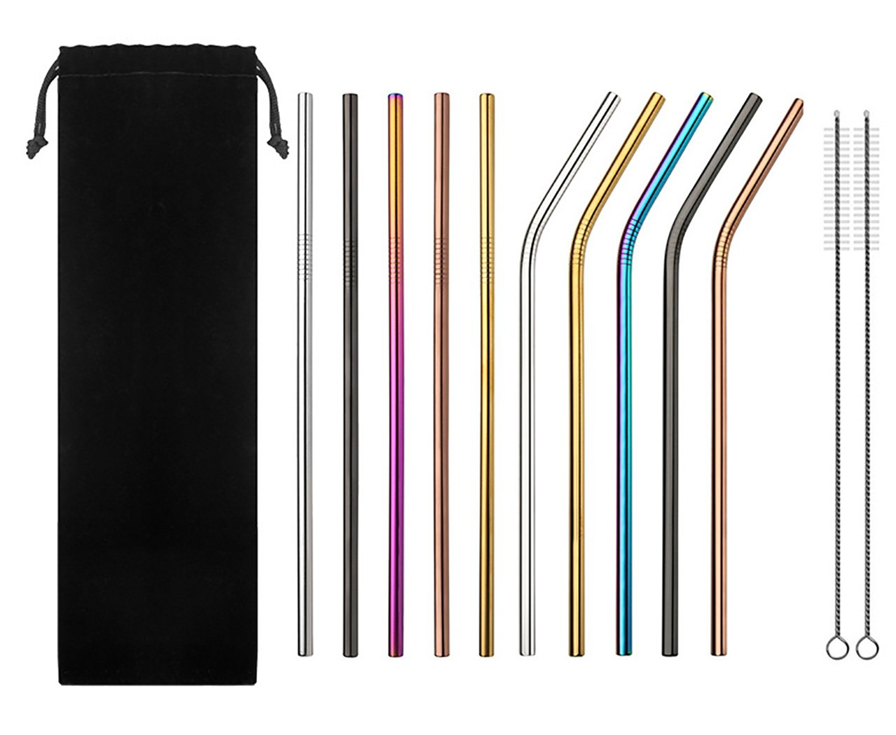 PromiShare Reusable Stainless Steel Straws,Set of 10 Extra Long 10.5''Rainbow Multi- Colored Drinking Straws With 2 Brushes and Carry bag