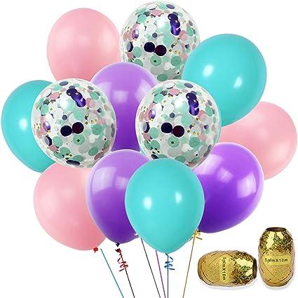 12inch Unicorn Mermaid Transparent Latex Golden Confetti Balloon Party Decor