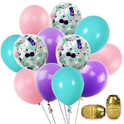 K KUMEED Unicorn Balloons 40Pack 12quot Light Purple Pink Blue Latex With Confetti