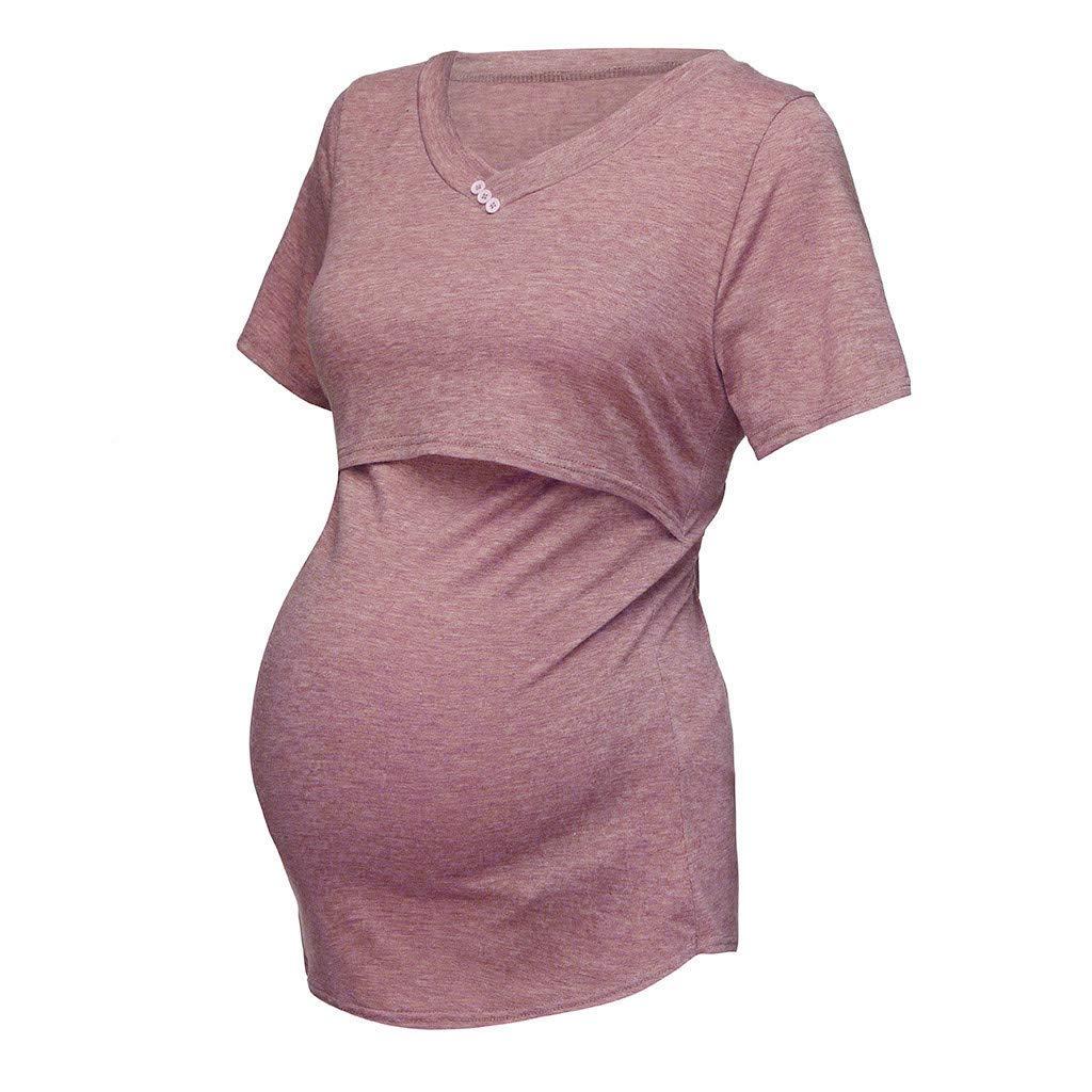Juliyues Umstandstops Damen Stillshirt Mutterschaft T-Shirt Sommer Kurzarm Stillen Kleidung Umstandsmode Schwangerschaft T-Shirts Bluse Stilltop Umstandsshirt