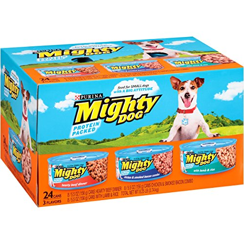 *Purina Mighty Dog Hearty Beef Dinner, Chicken & Smoked Bacon Combo & Lamb & Rice Variety Pack Wet Dog Food, 5.5 Oz, Case of 24 - Mighty Dog Beef