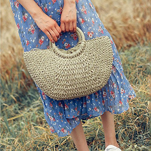 sac à naturel à à d'été en la paille fait bambou tissé main de sac la à main main main Blanc Sac w1a47qx