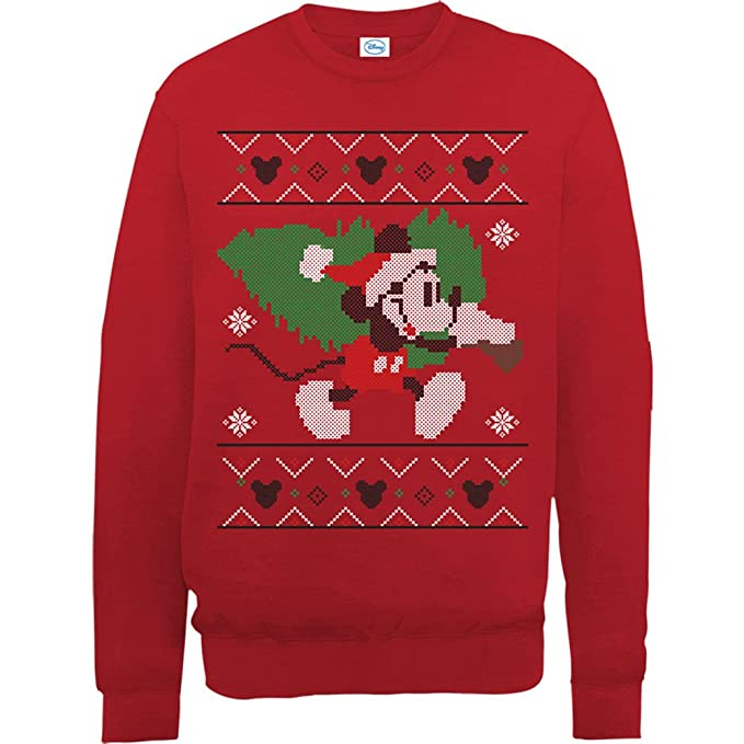 Brands In Limited Mickey Mouse Christmas Tree-Sudadera Mujer: Amazon.es: Ropa y accesorios
