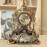 CXQ European Style Desk Clock Creative Personality Living Room Mute Seat Pendulum Clock Quartz Decoration (Color : Imitation Wood)