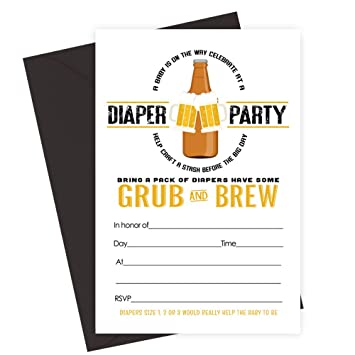 Mans Baby Shower Invitations Diapers For Beer Party 15 Pack