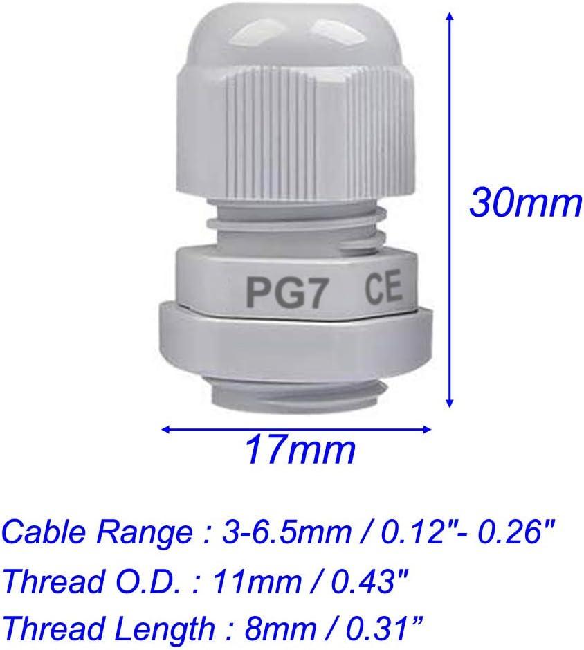 Gebildet 50 St/ücke PG7 Kabelverschraubung Wei/ß Kabelverschraubungen Gelenke Kabelsteckverbinder Verstellbare wasserdichte Kabelverschraubungen mit Gegenmutter Kunststoff M12 x 1,5