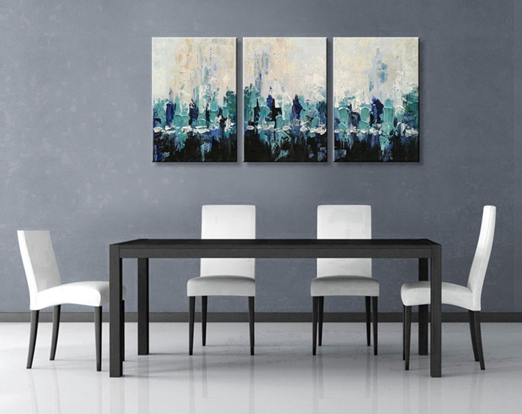 Amazon.com: Hand Painted Wall Art Blue Scenery Abstract Oil Painting ...