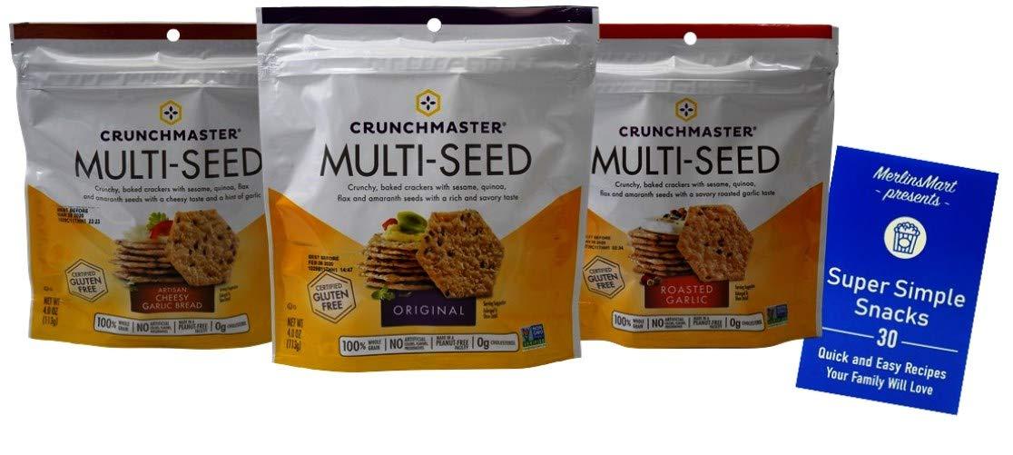 Crunchmaster Gluten Free Non-GMO Baked Crackers 3 Flavor Variety Plus Recipe Booklet Bundle, 1 each: Artisan Cheesy Garlic Bread, Original, Roasted Garlic (4 Ounces) by Crunchmaster