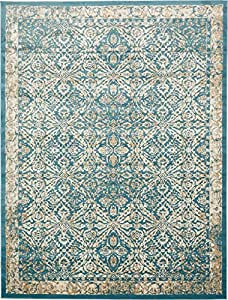 Amazon Com A2z Rug Teal 10 X 13 Ft St Martin