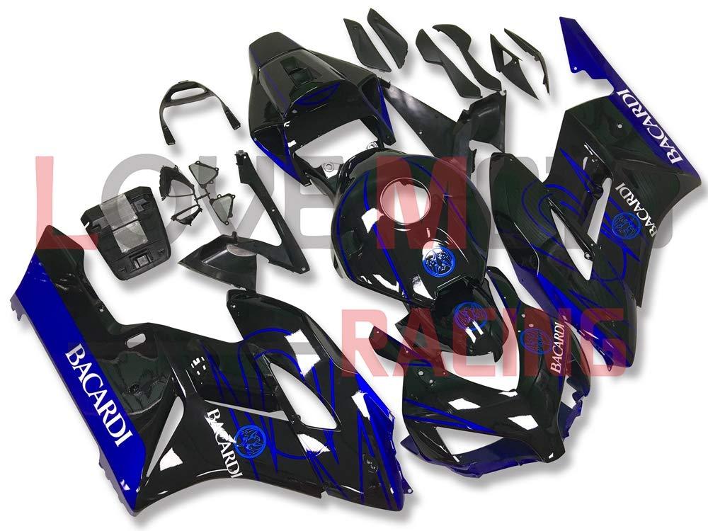 LoveMoto ブルー/イエローフェアリング ホンダ honda CBR1000 RR 2004 2005 04 05 CBR1000RR ABS射出成型プラスチックオートバイフェアリングセットのキット ブラック ブルー   B07KF7PNW2