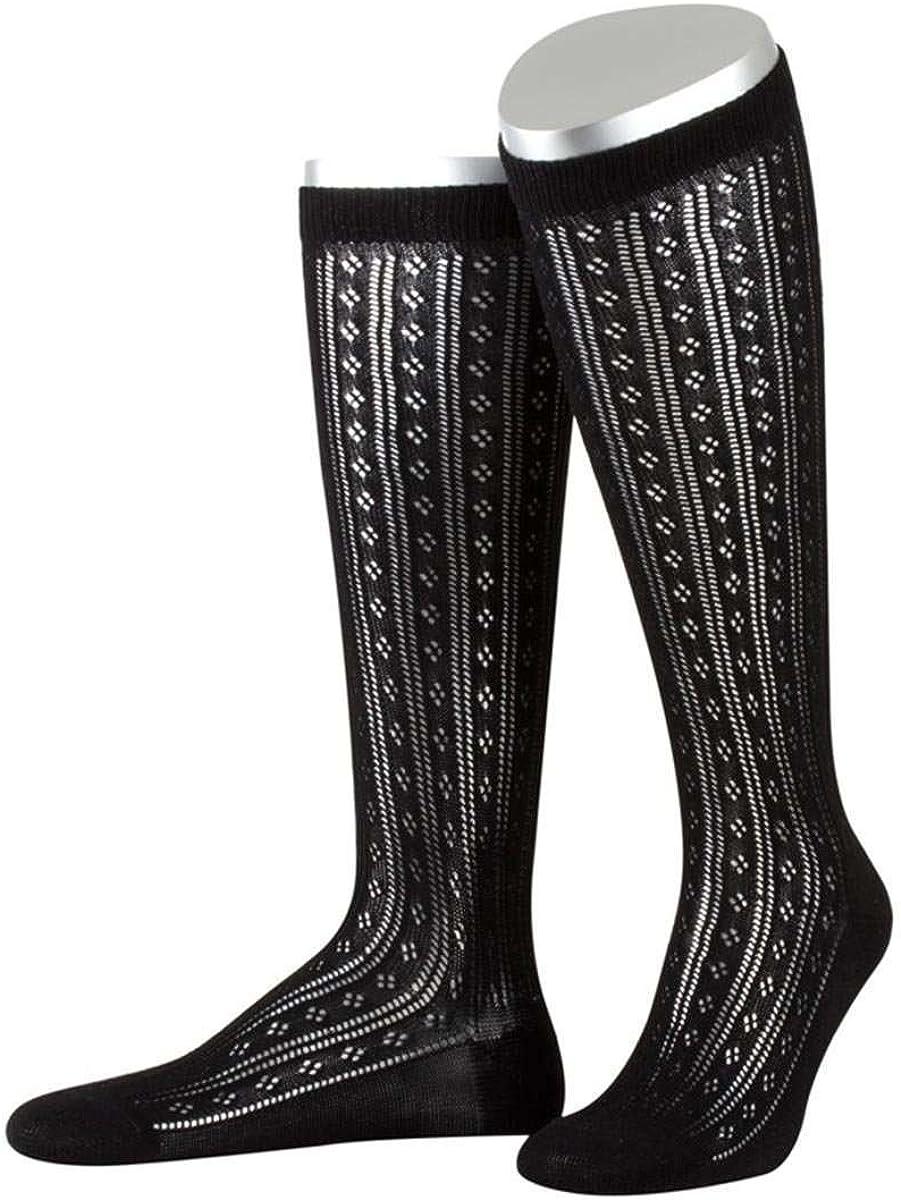 schwarz, Lusana Damen Dirndlstrumpf mit feinem Ajourmuster schwarz 01