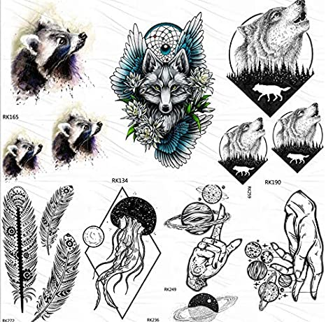 yyyDL Tatuajes temporales de lobo pegatina bosque redondo aullido ...
