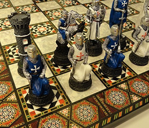 Cross Chess (Medieval Times Crusades Warrior Chess Set Blue & White Maltese Cross With 17