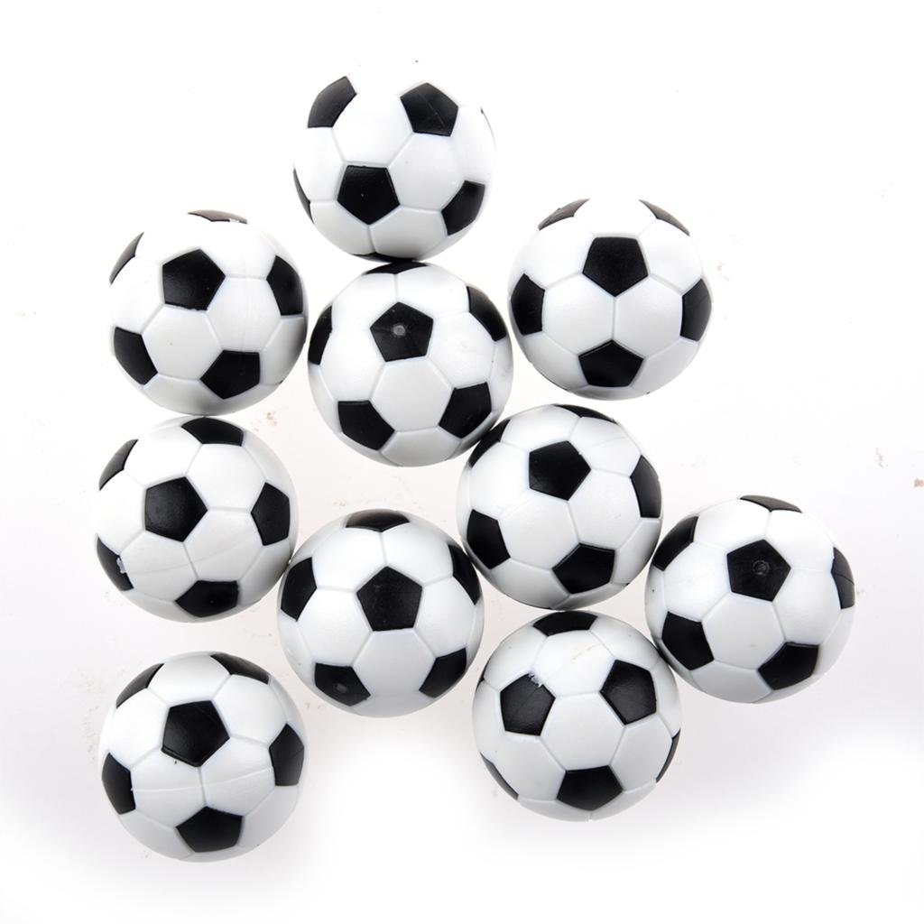 Nicebuty 6?pcs Table Soccer Foosballs Remplacement Mini Plastique Noir et blanc Ballon de foot