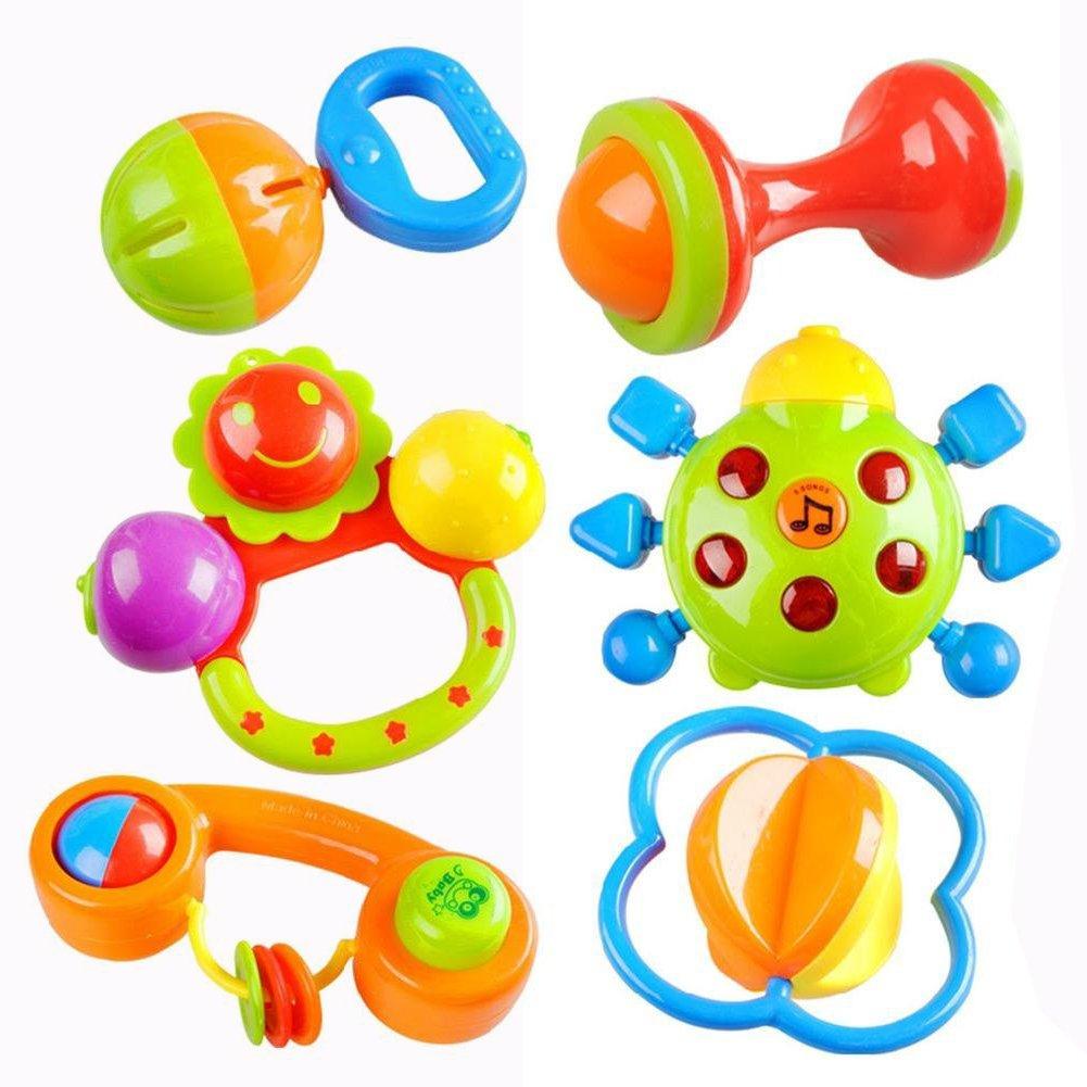 Cisixin 6 Piezas Baby Hand Bell Sonajeros del Bebé Juguetes ...