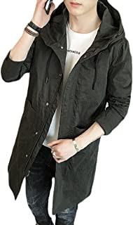 AGAING Men Trench Coat Hooded Fashion Athletic Mid Long Windbreaker