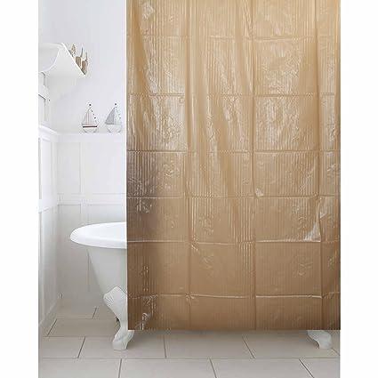 Kuber Industries Brown Self Design PVC Premium Shower Curtain