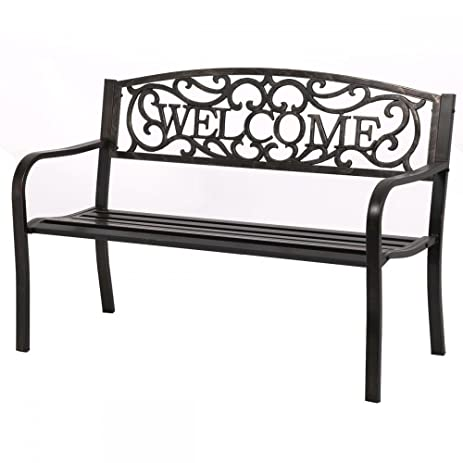 50 patio garden bench park yard outdoor furniture steel frame porch chair - Garden Furniture Steel