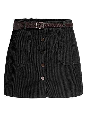 04063e4918d4e SOLYHUX Damen kurzer Mini Kord hocher Tailler Knopfverschlusser Rock mit  Taschen und Gürtel