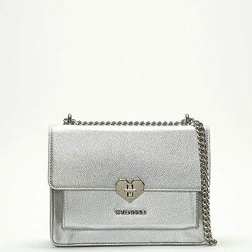 39f389b83559e Mario Valentino Valentino By Amelie silberne Herz Verschluss Cross-Body- Tasche Silver Leather