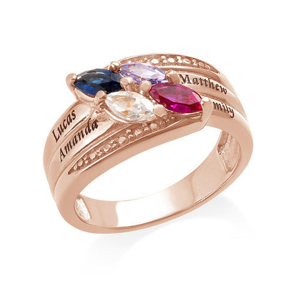 Engraved Mothers Ring & Four Stone - Custom Made Ring with Birthstones -Personalized Gift for Mother's Day(rose-gold 5) by Jumping Birthstone (Image #1)