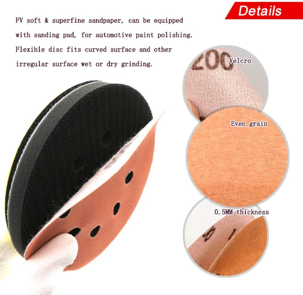 LCDIEB Sandpaper 15PCS 5 Inch 8-Hole FV Superfine Sanding Disc Soft Waterproof Sandpaper 600 to 5000 Grit for Wet or Dry Automotive Paint Sanding,1500 1000
