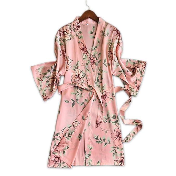 Meaeo Albornoces Sexy Mujeres Kimono Túnica Batas De Moda Delicadas Mujeres Florales Rosas Casa Batas: Amazon.es: Ropa y accesorios