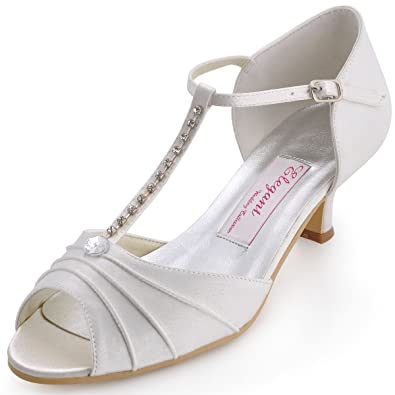 97bd3b1a2832aa ElegantPark EL-035 Women Peep Toe T-Strap Pumps Mid Heel Rhinestones Satin  Wedding