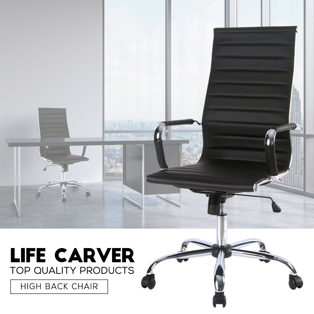 Desk chair kitchen - Life Carver Ribbed High Back Executive Desk Chair Pc Computer Office Chair Amazon Co Uk Kitchen Home