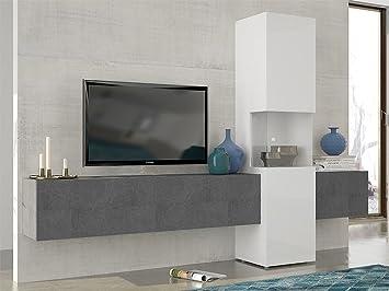 Ideakit Ensemble Murale Compose Par Meuble Tv L 160 Verre 2
